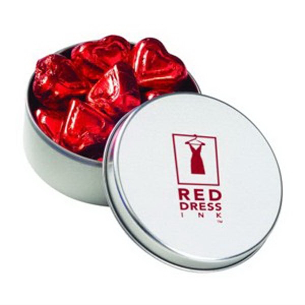 Customized Large Round Tin / Chocolate Foil Hearts