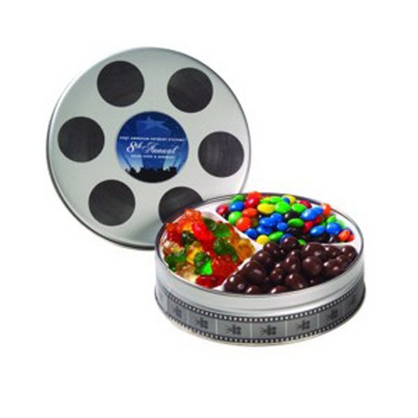 Customized Small Film Reel Tin / 3 Way Snack Tin