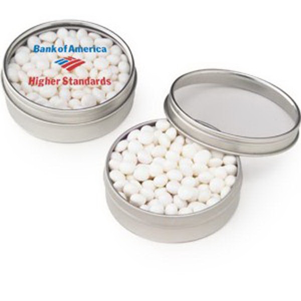 Personalized Small Clear Window Tin with White Mints