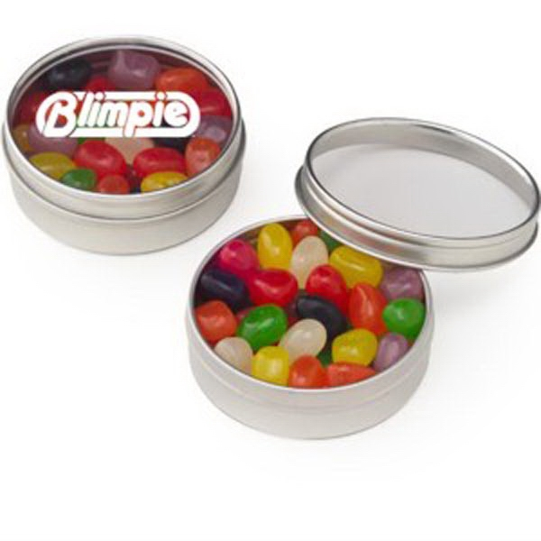 Customized Small Clear Window Tin with Assorted Jelly Beans