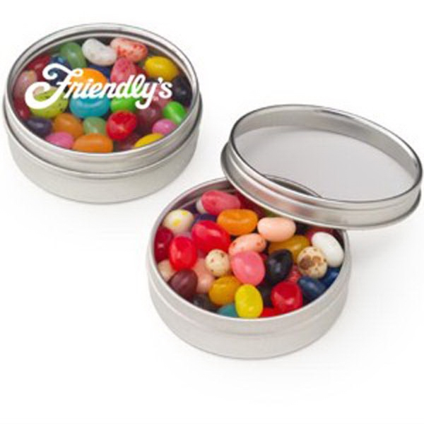 Printed Small Clear Window Tin with Gourmet Jelly Beans