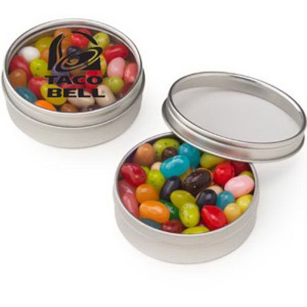 Promotional Small Clear Window Tin with Jelly Belly (R) Jelly Beans