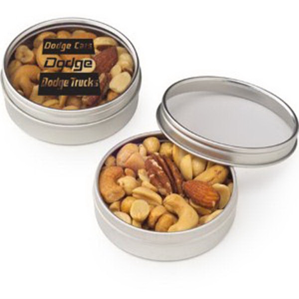 Small Round Windows: Personalized Small Round Window Tin / Mixed Nuts