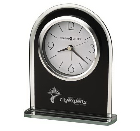 Imprinted Ebony Luster Glass Clock