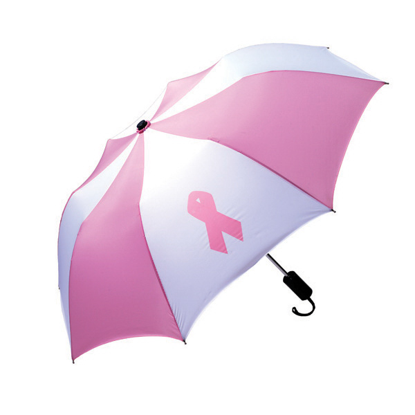 Custom Pop Up Umbrella with breast cancer awareness ribbon