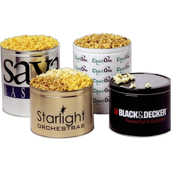Personalized Three-Way Popcorn Sampler in 2 Gallon Custom Tin
