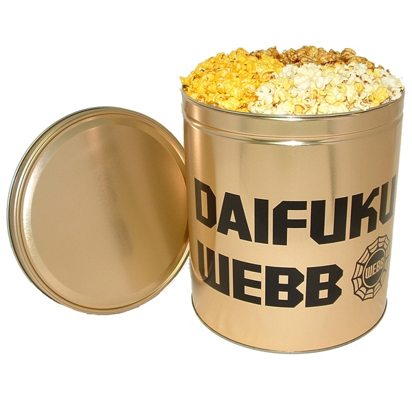 Personalized Three-Way Popcorn Sampler in 3 1/2 Gallon Custom Tin