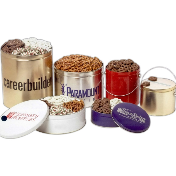 Promotional Three-Way Coated Pretzels in 3 1/2 Gallon Custom Tin