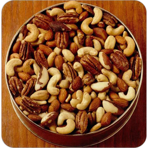 Imprinted 16 oz. Deluxe Mix Nuts Custom Gift Tin