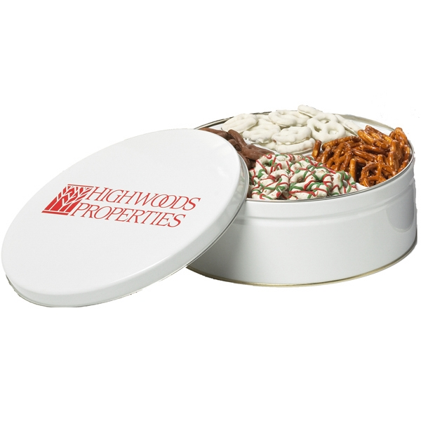Promotional Four-Way Pretzel Sampler in Custom Round Tin