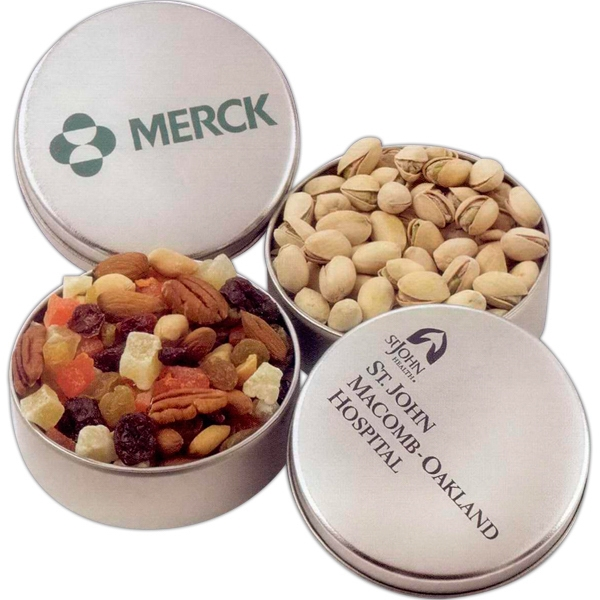 Personalized Deluxe Mixed Nuts in Round Tin