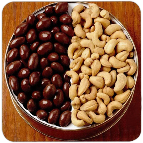 Personalized 42 oz. Chocolate Almonds/Cashews in Designer Tin