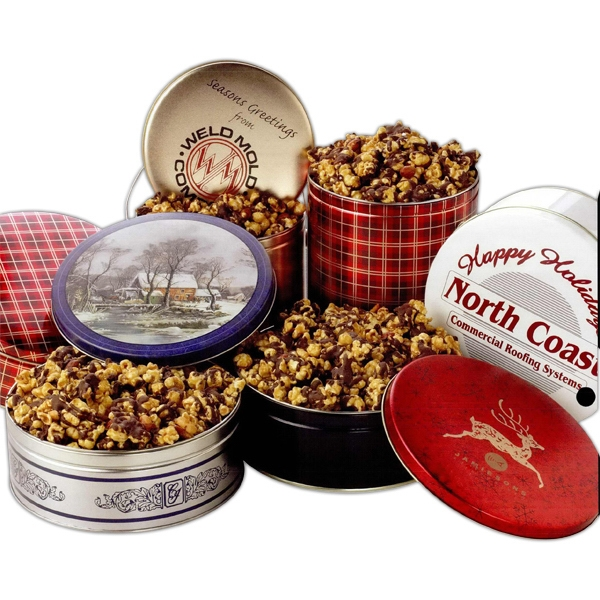 Promotional Chocolate Covered Caramel Corn in 1 Gallon Designer Tin