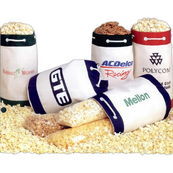 Customized 3-Way Popcorn Sampler in Drawstring Duffel Bag