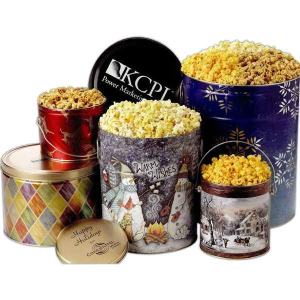 Imprinted 3-way Popcorn Sampler in 6 1/2 Gallon Designer Tin
