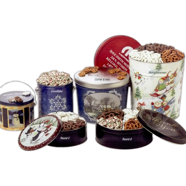 Printed Three-Way Coated Pretzel Sampler in 3.5 Gallon Designer Tin