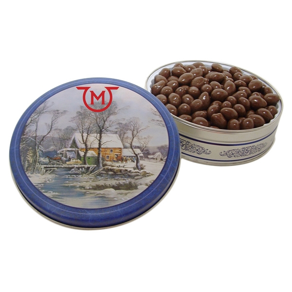 Promotional 20 oz. Chocolate Covered Almonds in Designer Gift Tin