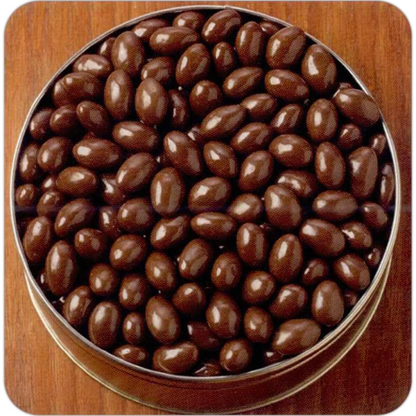 Personalized 66 oz. Chocolate Covered Almonds in Designer Gift Tin