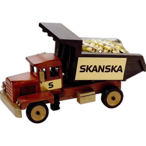 Imprinted Deluxe Mixed Nuts in Wooden Dump Truck