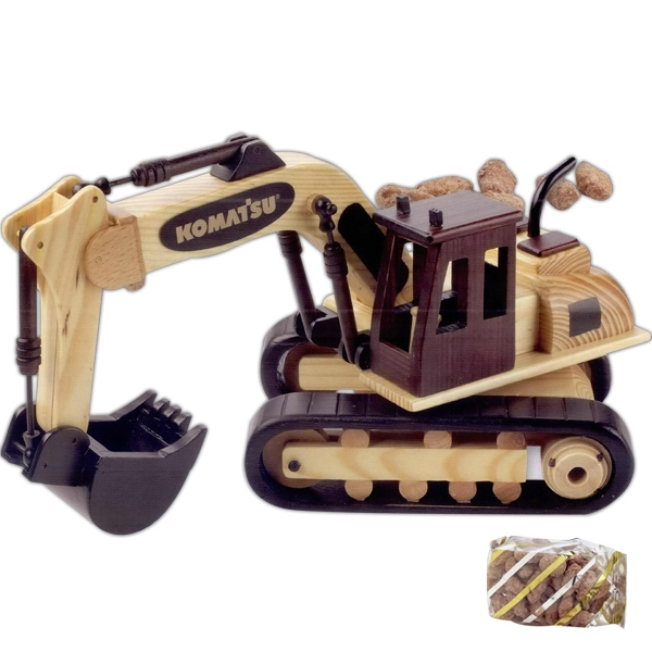 Imprinted Chocolate Covered Almonds in Wooden Excavator