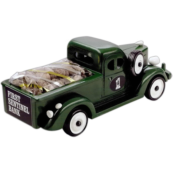 Personalized Cinnamon Almonds in Green Pickup Truck