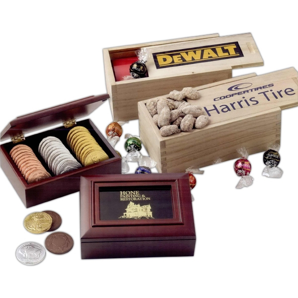 Promotional Deluxe Mixed Nuts in Wood Box with sliding lid & thumb pull