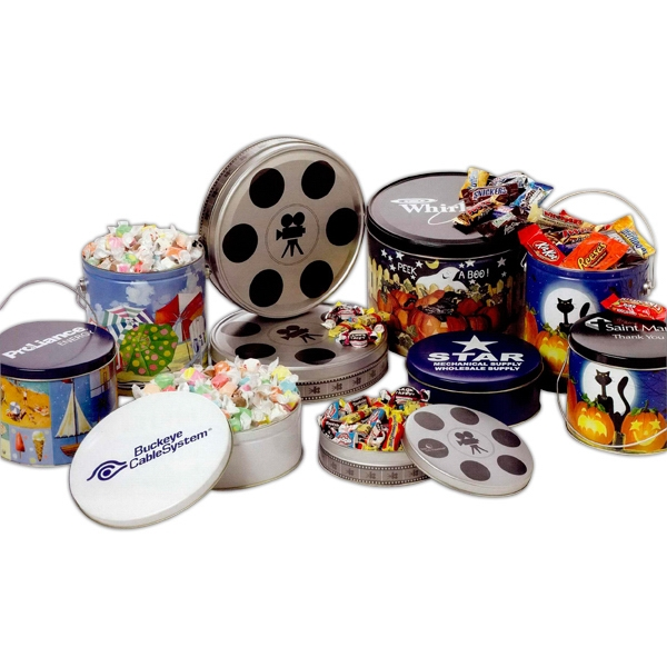 Promotional Nostaglia Candy Mix in Small Movie Reel Tin