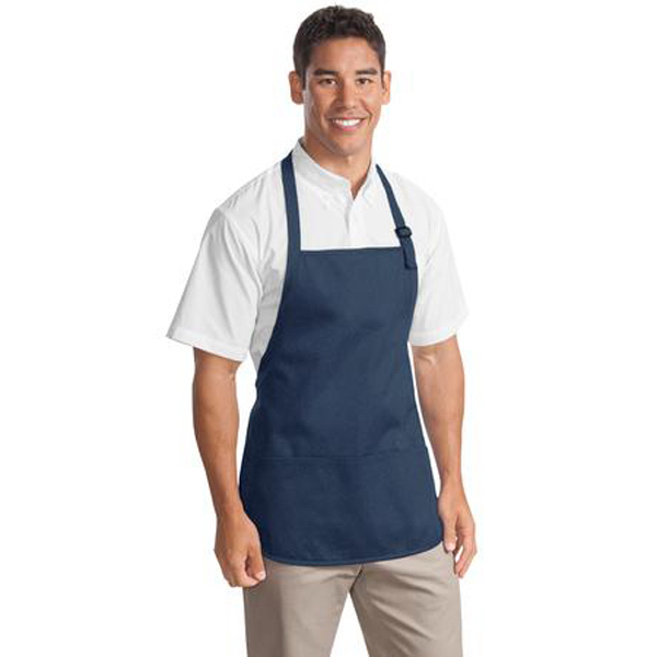 Printed Port Authority® medium length apron with pouch pockets