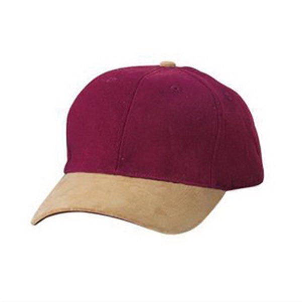 Custom Port Authority® two-tone brushed twill cap with suede visor