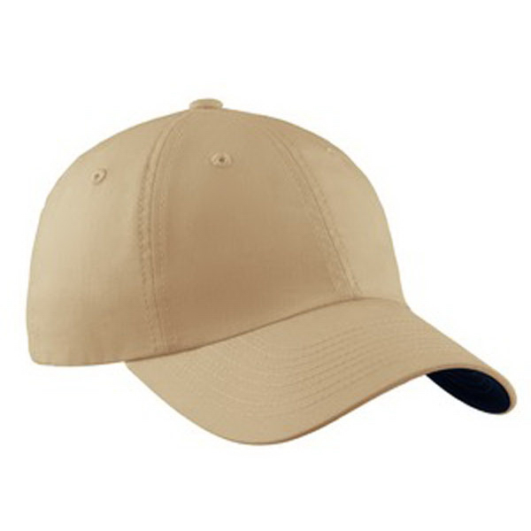 Imprinted Port Authority® brushed canvas cap with contrast underbill