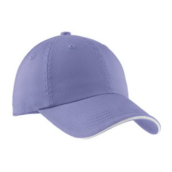 Imprinted Port Authority® sandwich bill cap with striped closure