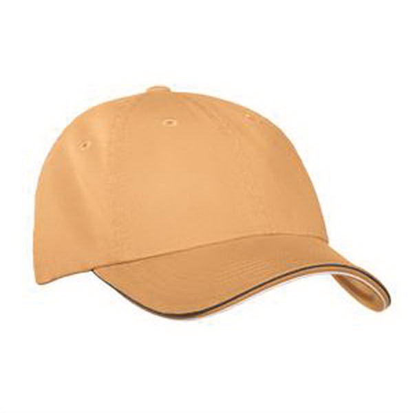 Printed Port Authority® double piping sandwich bill cap