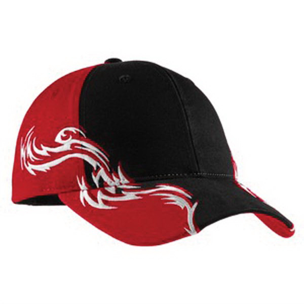 Custom Port Authority® colorblock racing cap with flames