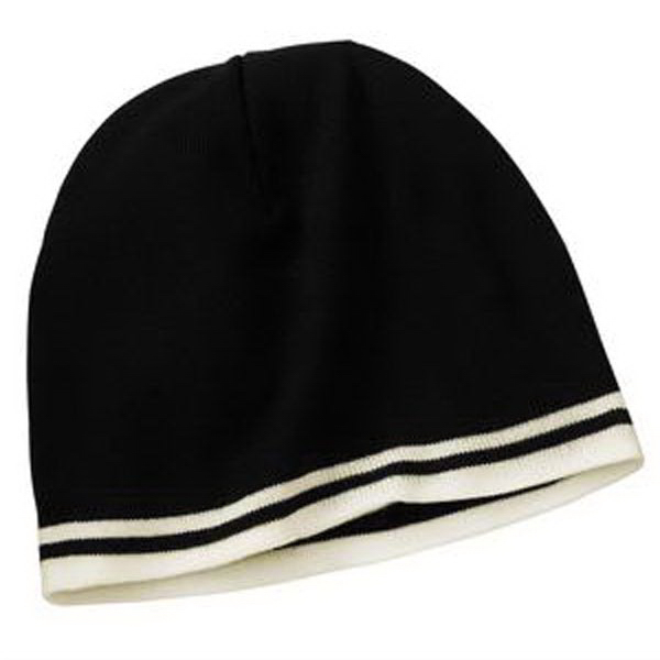 Printed Port & Company® fine knit skull cap with stripes