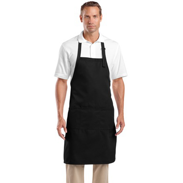 Custom Cornerstone® adjustable bib apron with three pockets