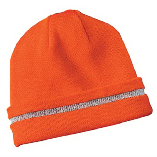 Printed Cornerstone® safety beanie with reflective stripe
