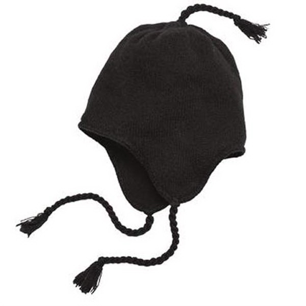 Imprinted District® knit hat with earflaps