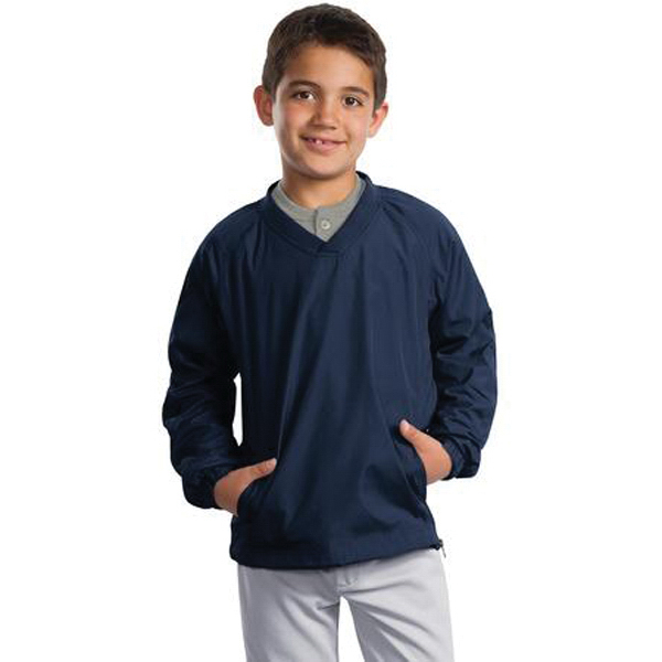 Customized Youth Sport-Tek® v-neck raglan wind shirt