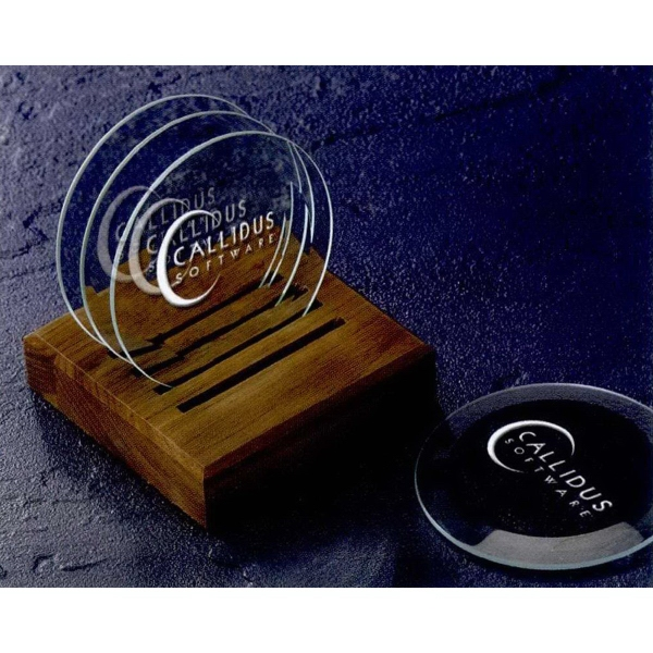 Promotional Beveled Coasters with Caddy - 5 Piece Set