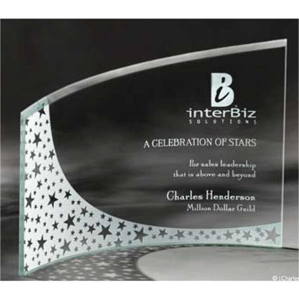 Imprinted Breeze Bent Glass Award - Large