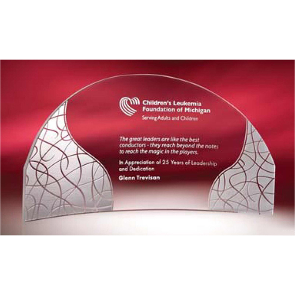 Customized Compass Bent Glass Award - Small