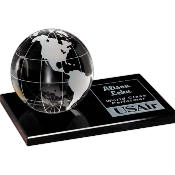 Imprinted Galaxy Globe Award on Black Glass Base