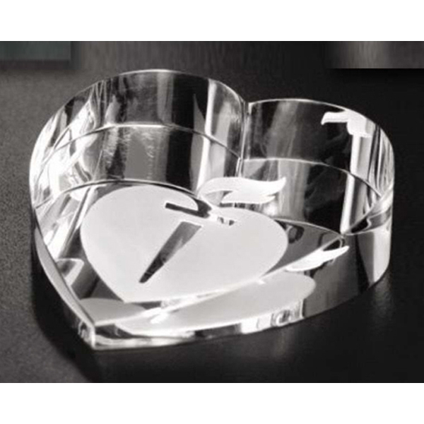 Imprinted Slant Heart Paperweight
