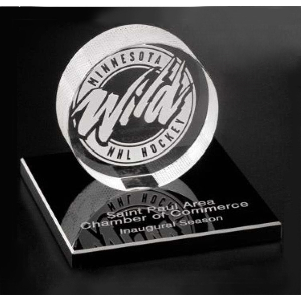 Imprinted Hockey Puck Award on Black Glass Base