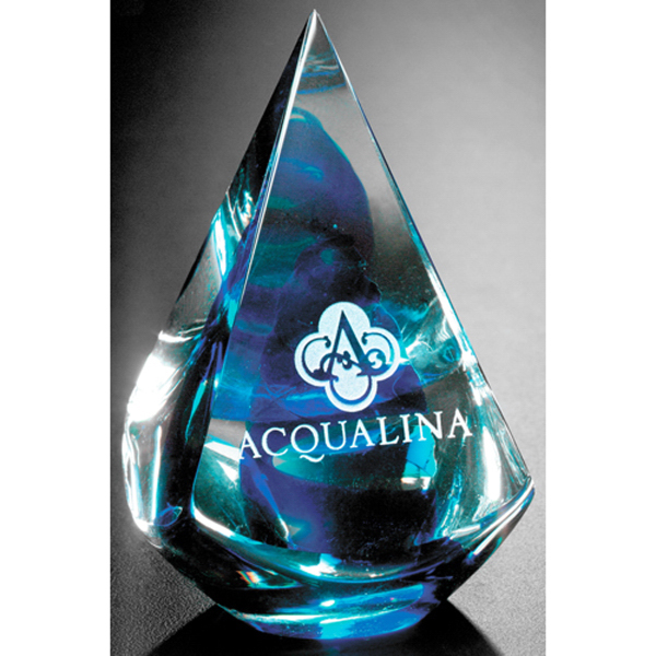 Imprinted Quatro Pyramid - Blue Award