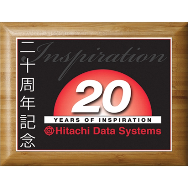 Printed Bamboo Plaque with Sublimated Plate