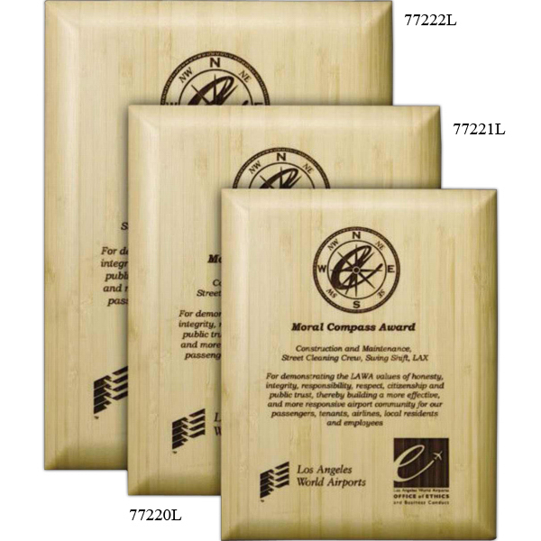 Promotional Blonde Bamboo Laser Plaque