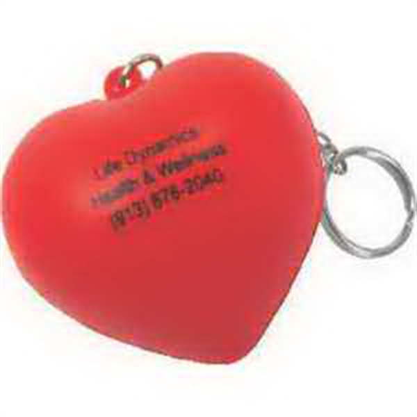 Imprinted Valentine Heart Key Chain Stress Reliever