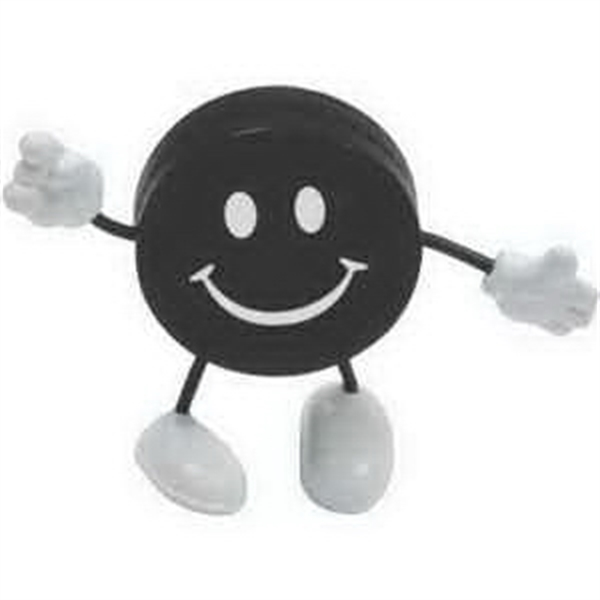 Printed Hockey Puck Figure Stress Reliever