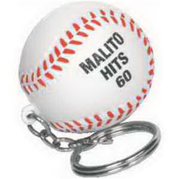 Printed Baseball Key Chain Stress Reliever